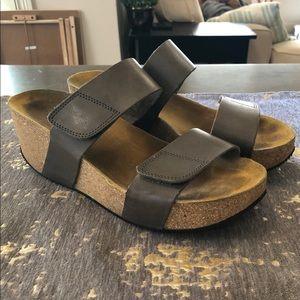 Eric Michael Grey  Leather Lily Platform Sandals